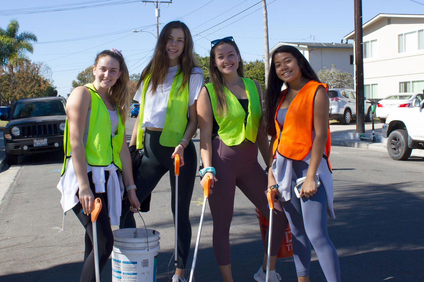 Students cleaning up Isla Vista with Adopt-a-Block.