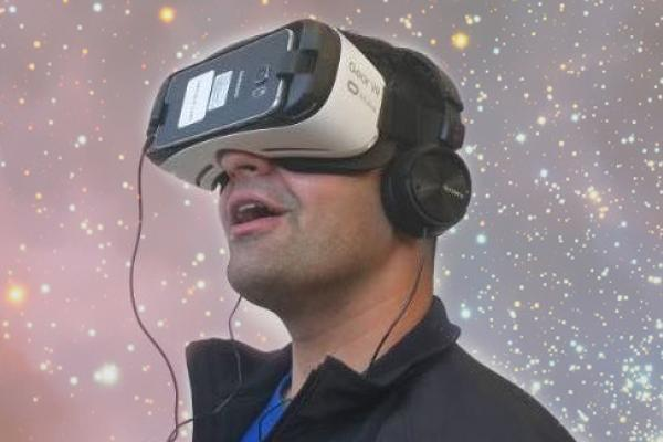 Navjot Brar wearing a virtual reality headset